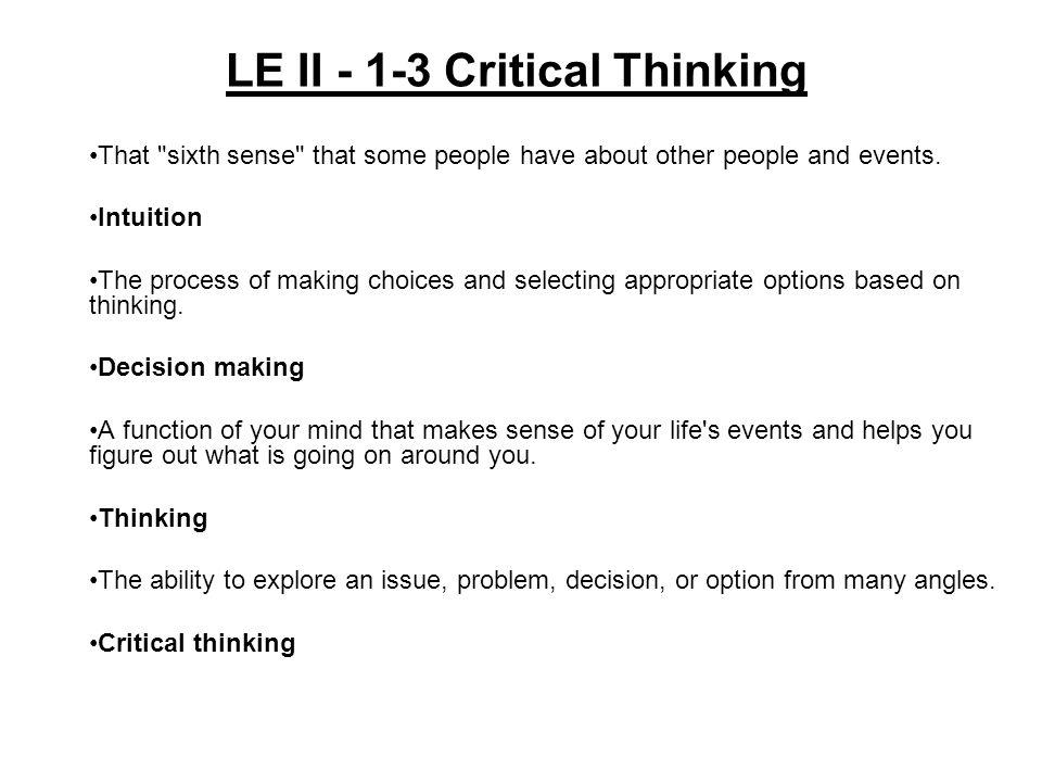 LE II - 1-3 Critical Thinking