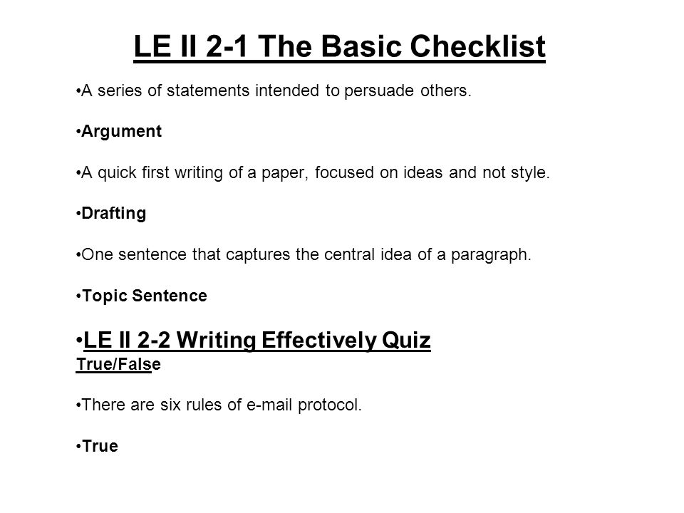 LE II 2-1 The Basic Checklist