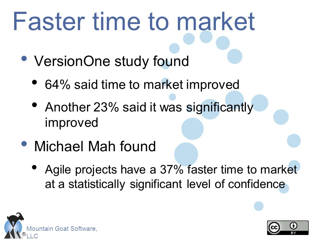 Faster time to market VersionOne study found Michael Mah found