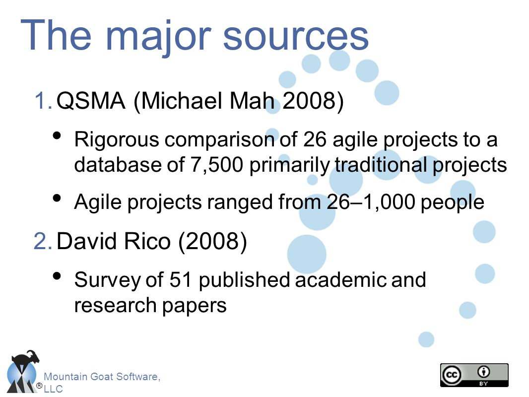 The major sources QSMA (Michael Mah 2008) David Rico (2008)