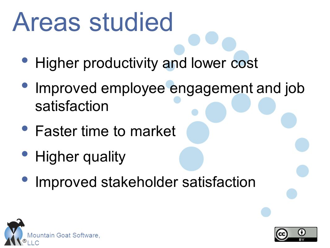 Areas studied Higher productivity and lower cost