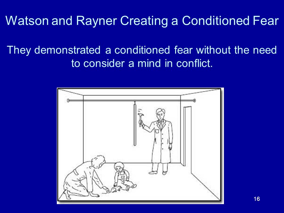 Watson and Rayner Creating a Conditioned Fear They demonstrated a conditioned fear without the need to consider a mind in conflict.