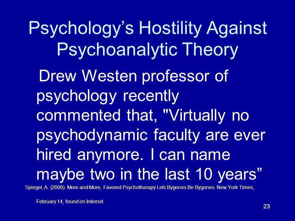 Psychology's Hostility Against Psychoanalytic Theory