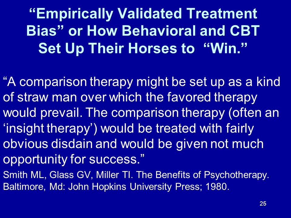 Empirically Validated Treatment Bias or How Behavioral and CBT Set Up Their Horses to Win.