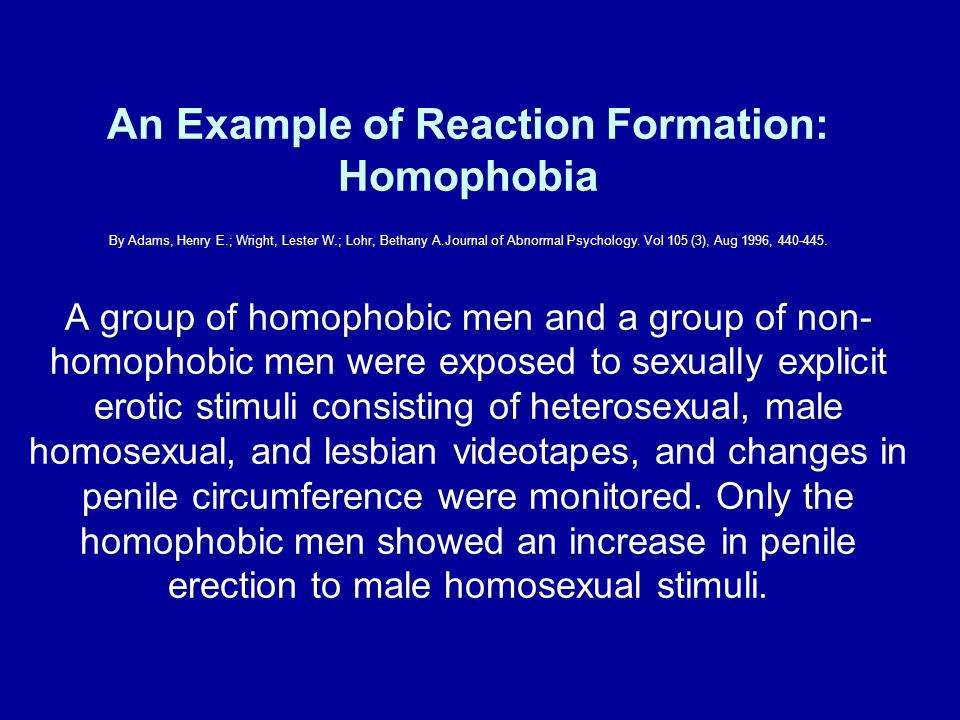 An Example of Reaction Formation: Homophobia By Adams, Henry E
