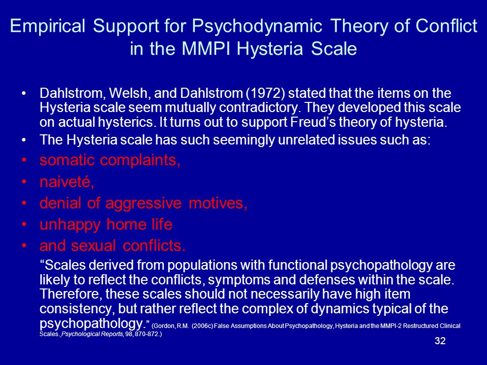 Empirical Support for Psychodynamic Theory of Conflict in the MMPI Hysteria Scale