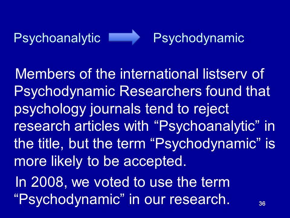 Psychoanalytic Psychodynamic