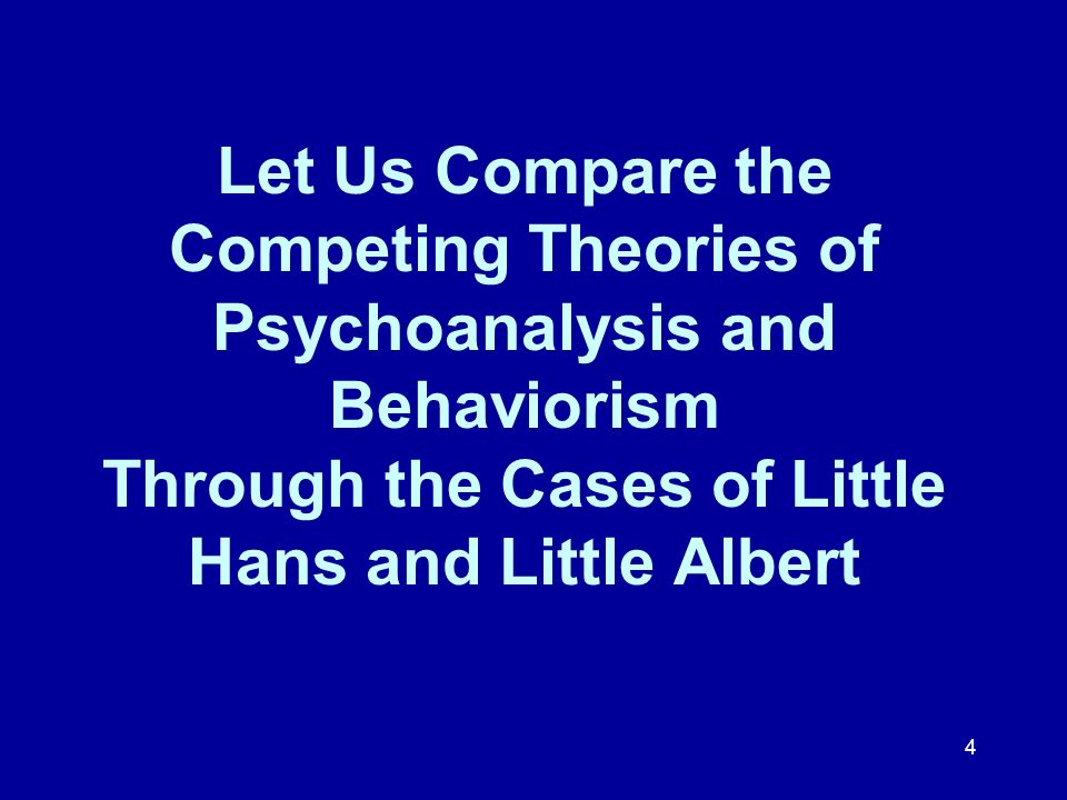 Let Us Compare the Competing Theories of Psychoanalysis and Behaviorism Through the Cases of Little Hans and Little Albert