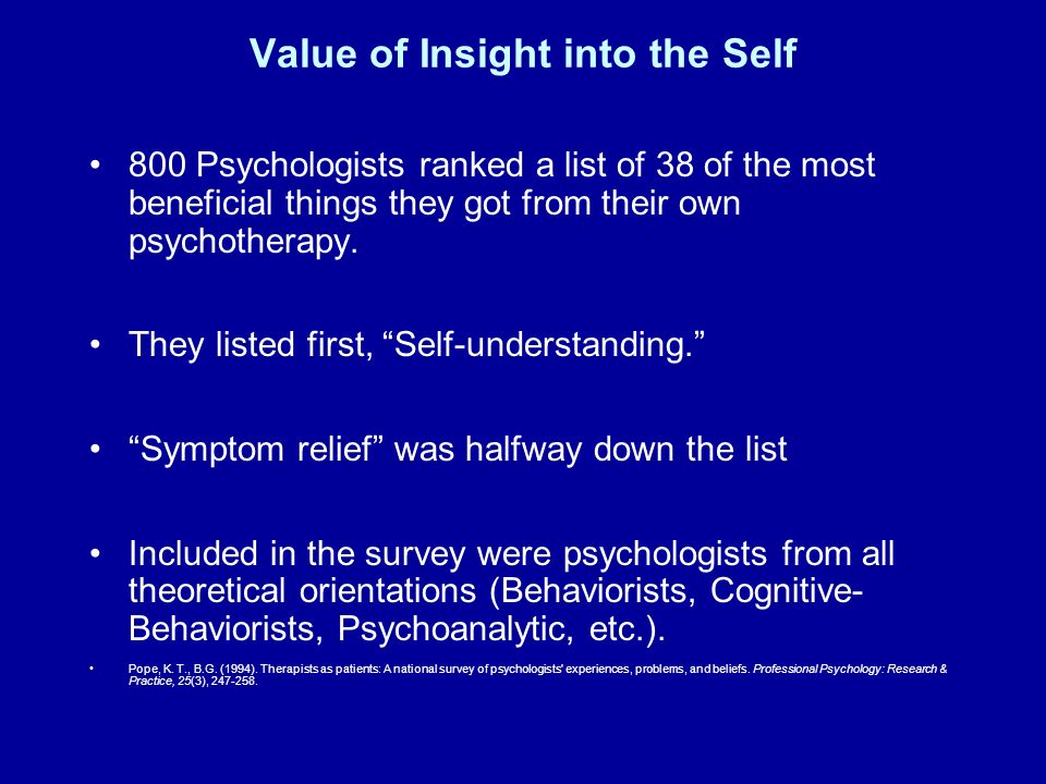 Value of Insight into the Self
