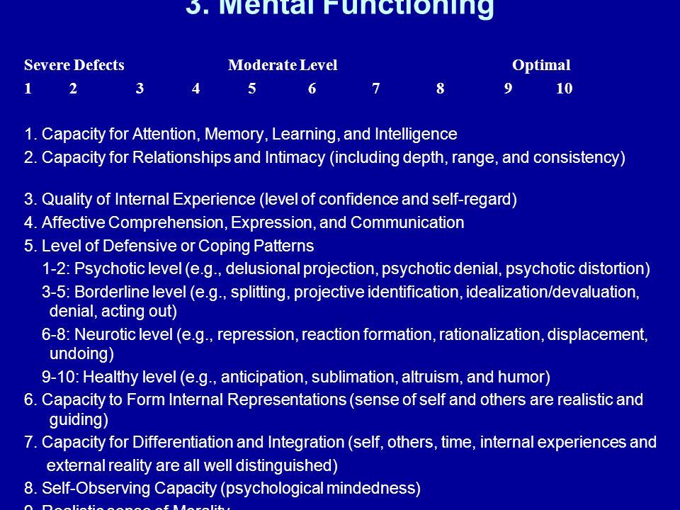 3. Mental Functioning Severe Defects Moderate Level Optimal