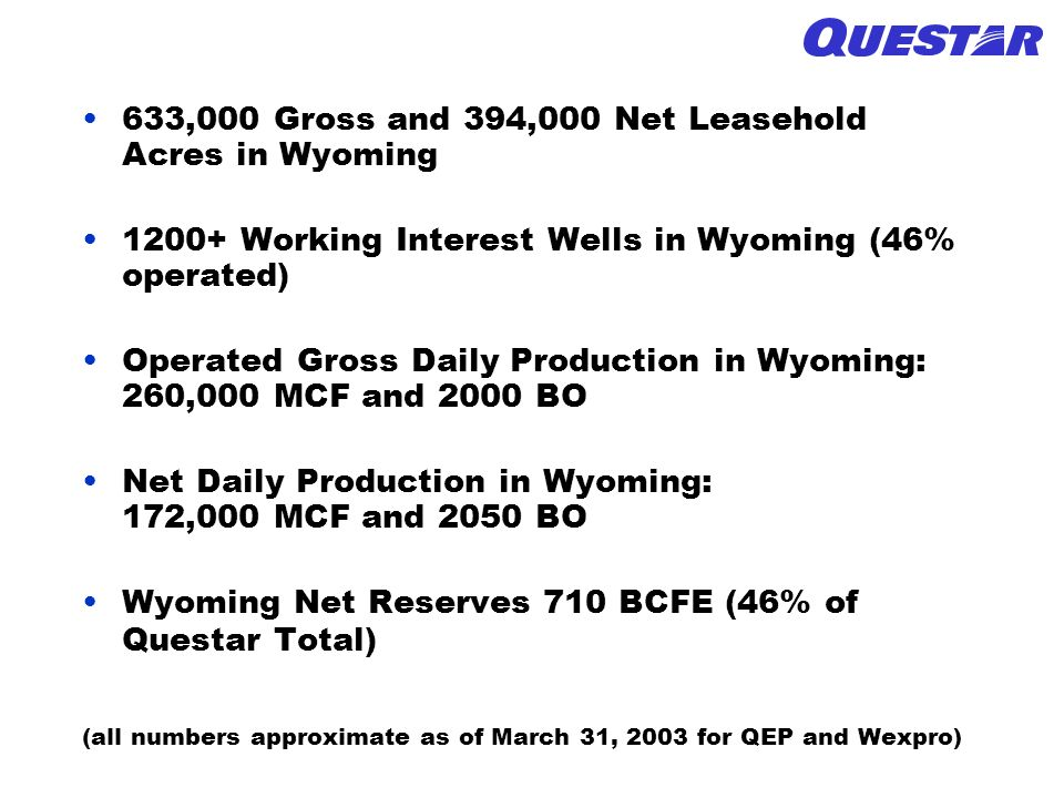 633,000 Gross and 394,000 Net Leasehold Acres in Wyoming