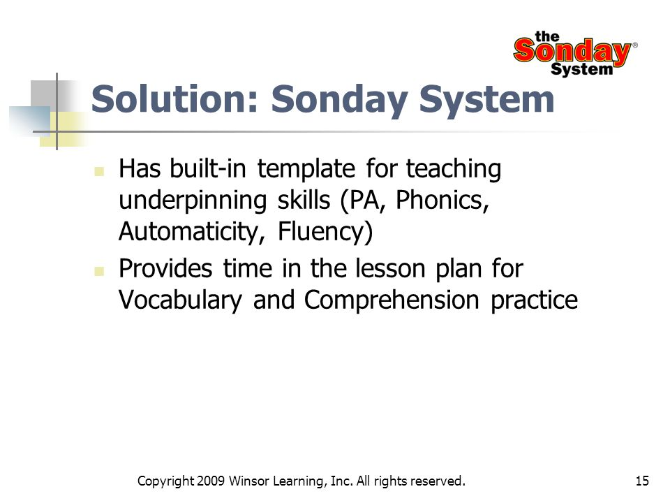 Solution: Sonday System