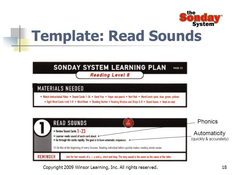 Template: Read Sounds Phonics Automaticity