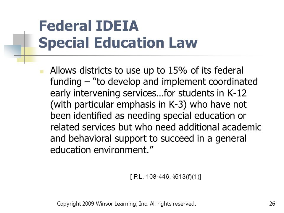 Federal IDEIA Special Education Law