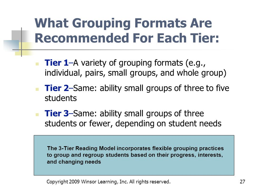 What Grouping Formats Are Recommended For Each Tier: