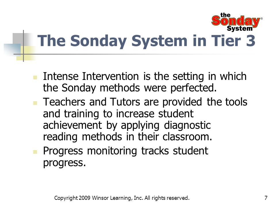 The Sonday System in Tier 3
