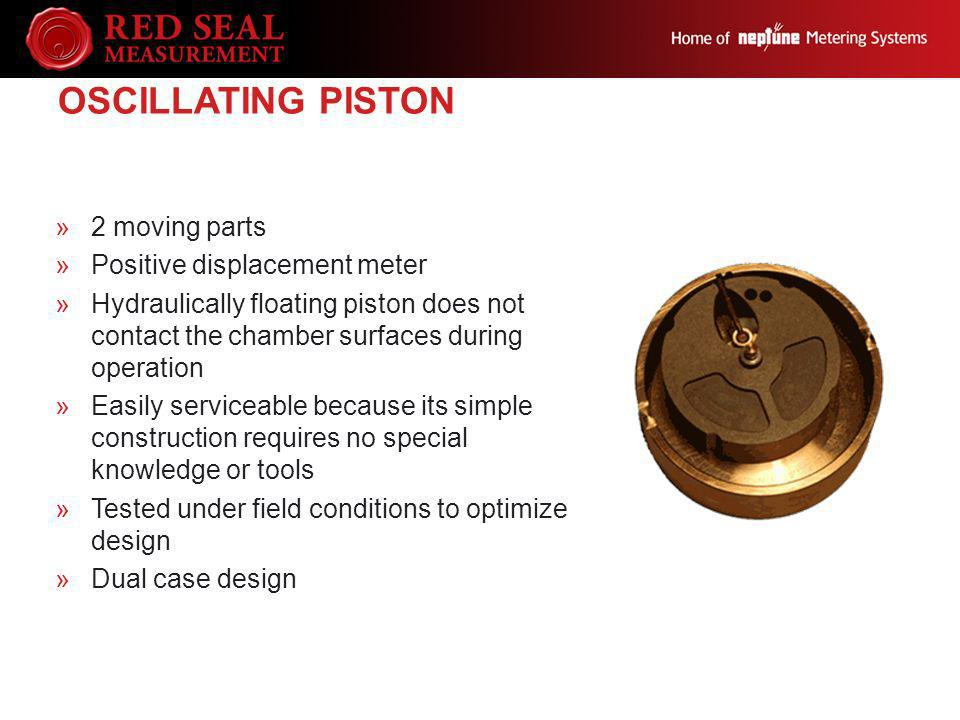 Oscillating Piston 2 moving parts Positive displacement meter