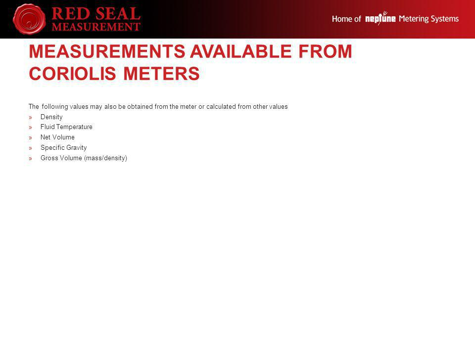 Measurements Available from Coriolis Meters