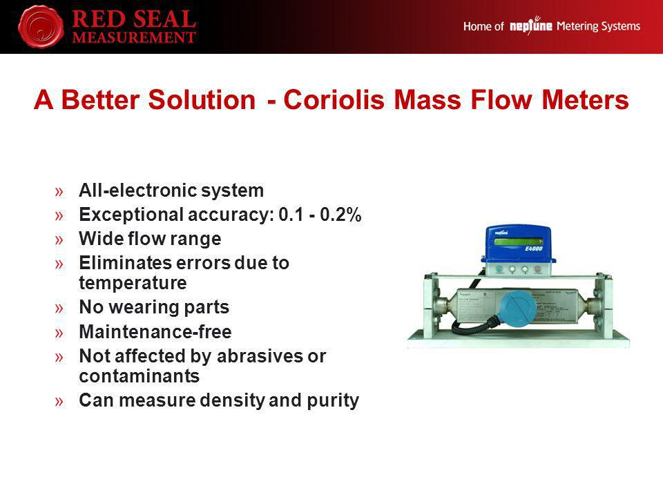 A Better Solution - Coriolis Mass Flow Meters