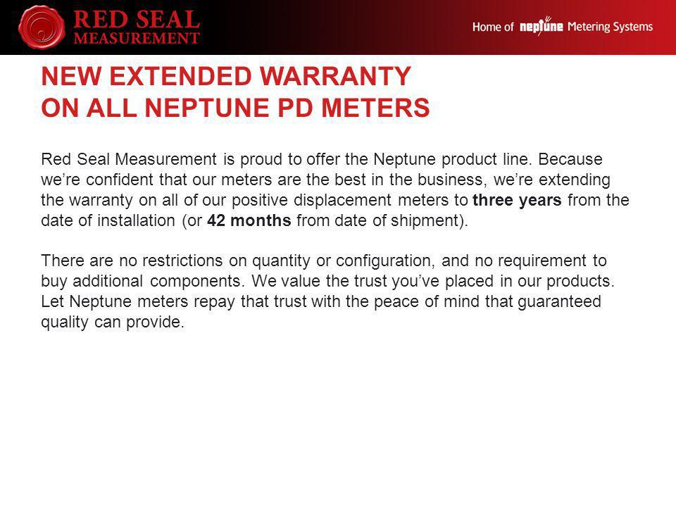 New Extended Warranty on all Neptune PD Meters
