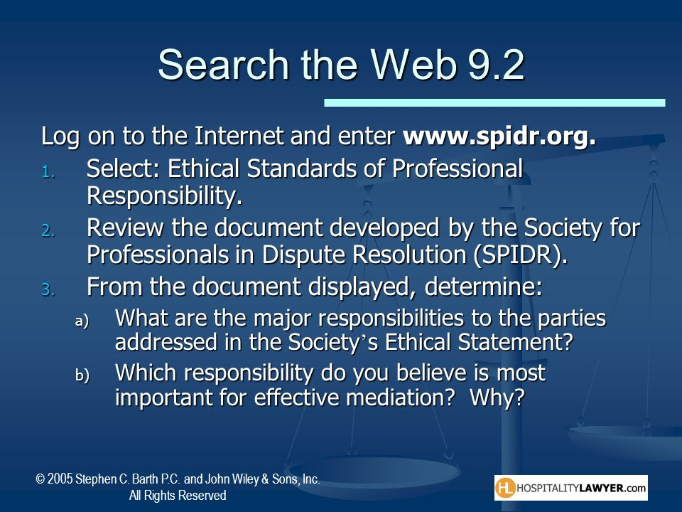 Search the Web 9.2 Log on to the Internet and enter www.spidr.org.