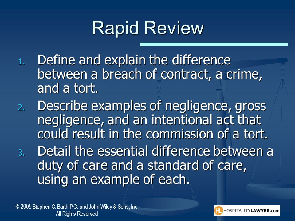 Rapid Review Define and explain the difference between a breach of contract, a crime, and a tort.