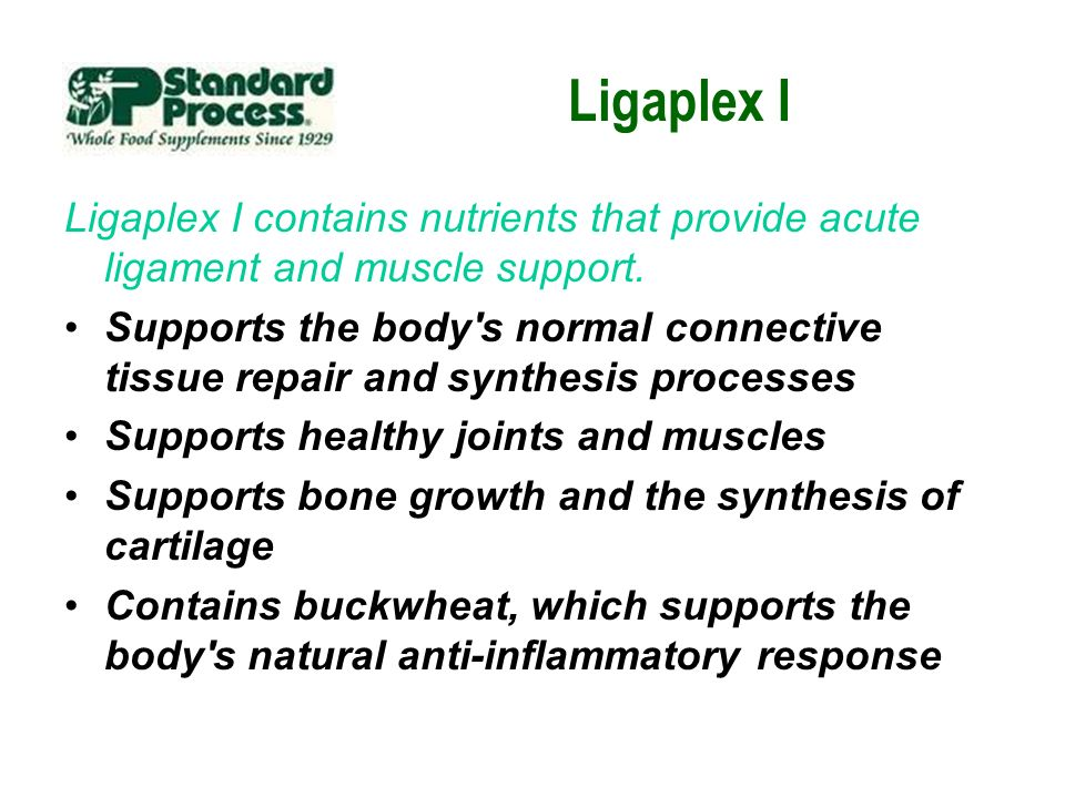 Ligaplex I Ligaplex I contains nutrients that provide acute ligament and muscle support.