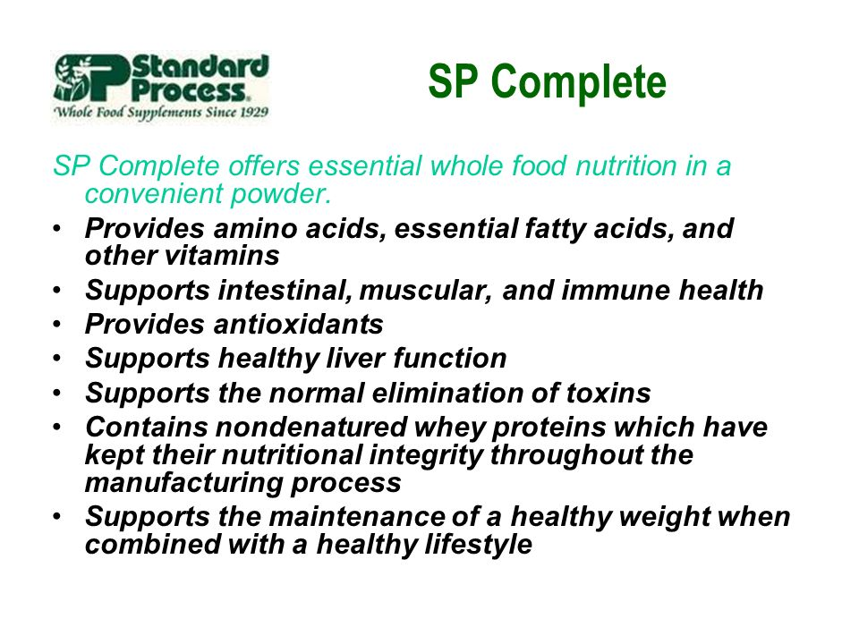 SP Complete SP Complete offers essential whole food nutrition in a convenient powder.