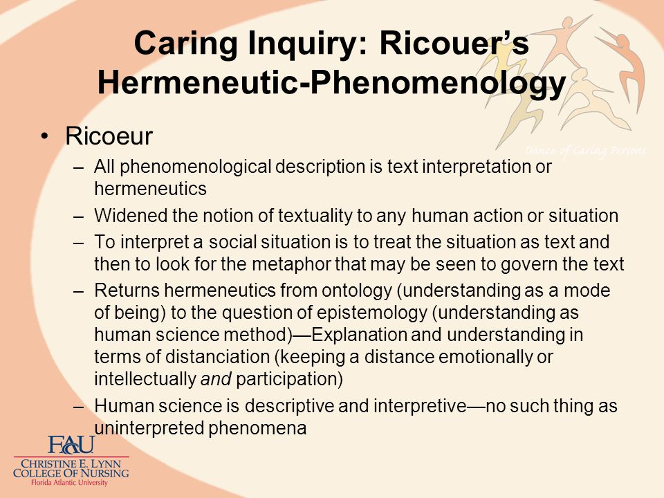 Caring Inquiry: Ricouer's Hermeneutic-Phenomenology