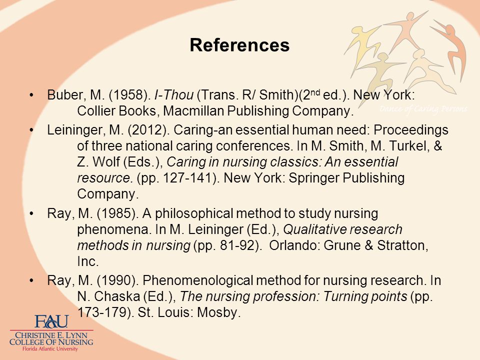 References Buber, M. (1958). I-Thou (Trans. R/ Smith)(2nd ed.). New York: Collier Books, Macmillan Publishing Company.