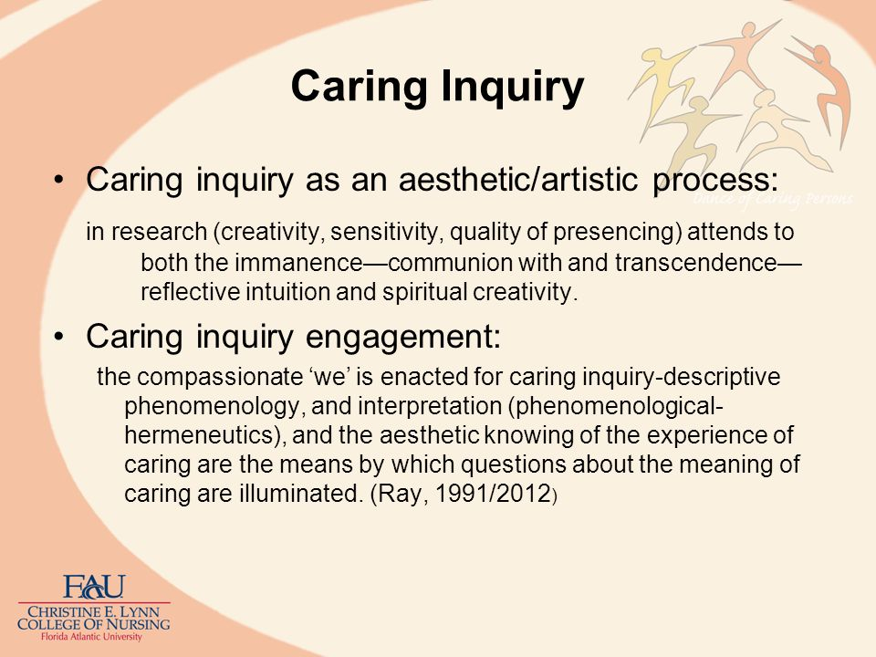Caring Inquiry Caring inquiry as an aesthetic/artistic process: