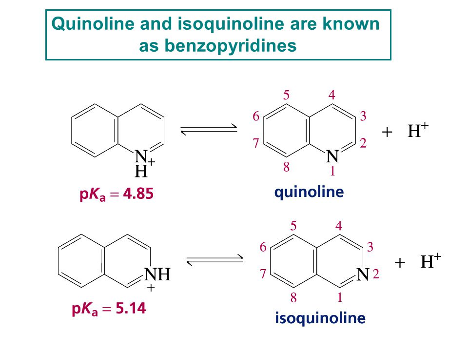 Quinoline and isoquinoline are known