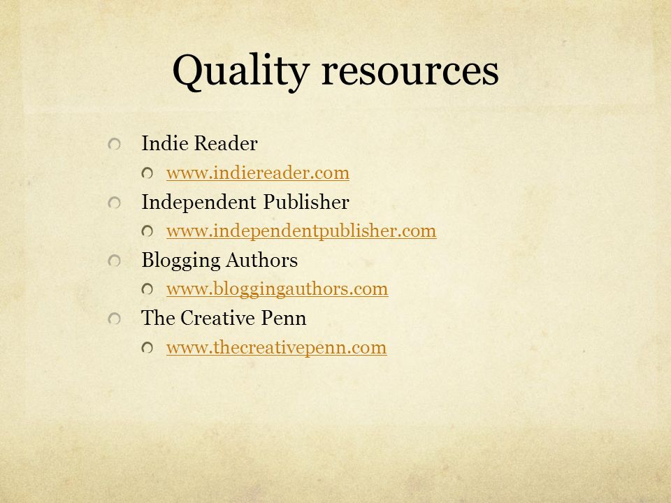 Quality resources Indie Reader Independent Publisher Blogging Authors