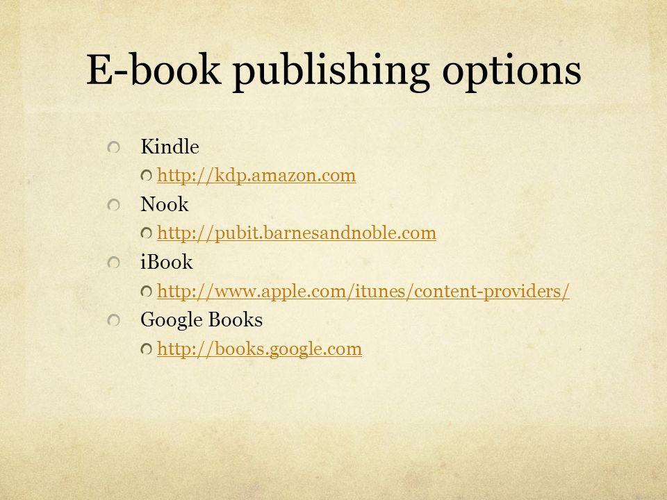E-book publishing options