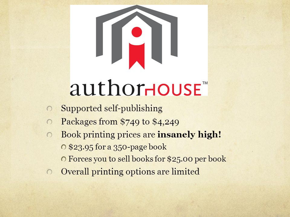 Supported self-publishing Packages from $749 to $4,249