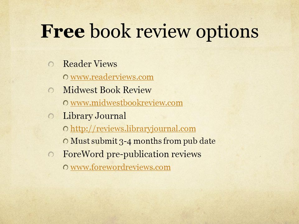 Free book review options