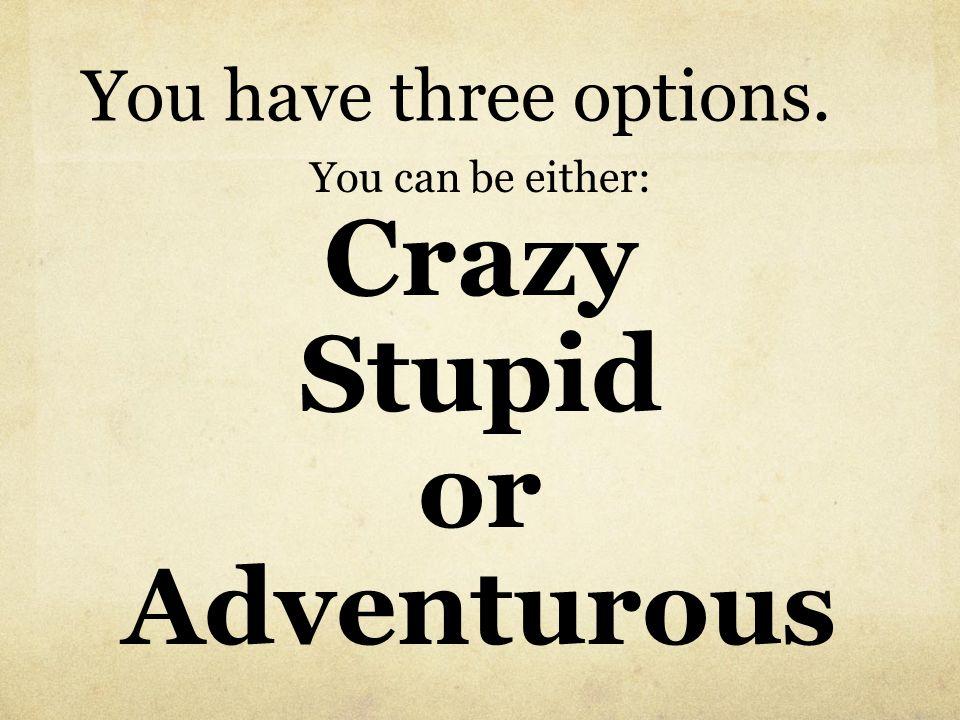 Crazy Stupid or Adventurous