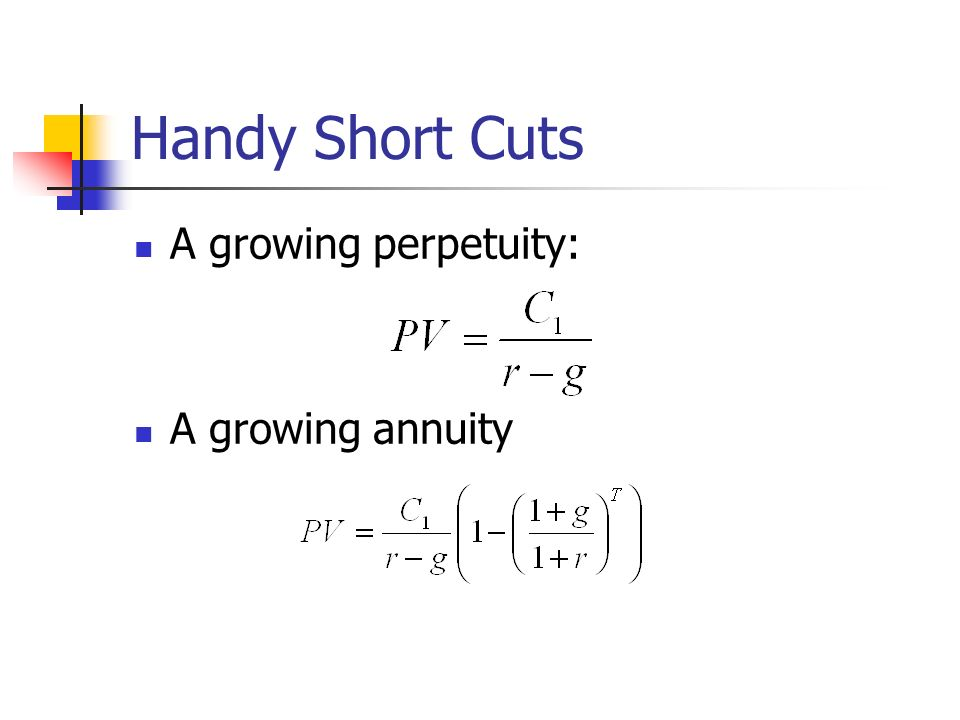 Handy Short Cuts A growing perpetuity: A growing annuity
