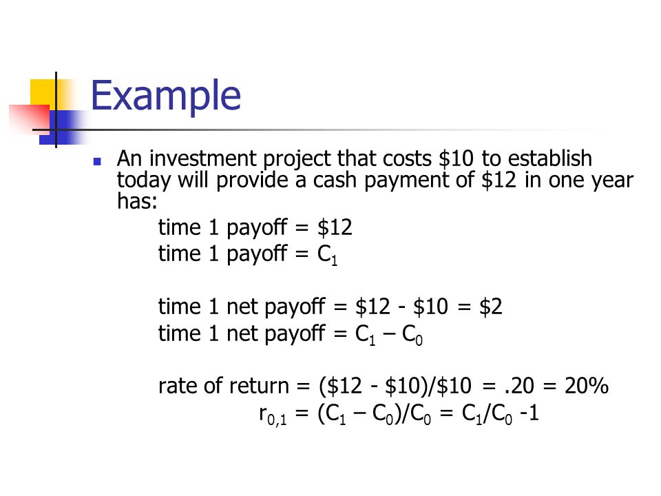 Example An investment project that costs $10 to establish today will provide a cash payment of $12 in one year has: