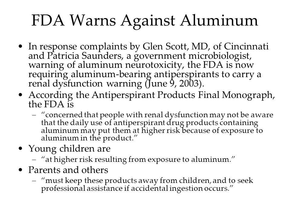 FDA Warns Against Aluminum