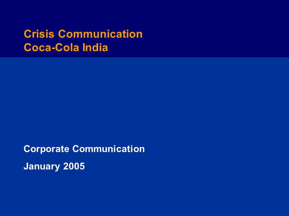 Crisis Communication Coca-Cola India