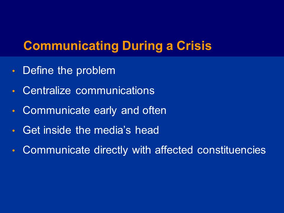 Communicating During a Crisis