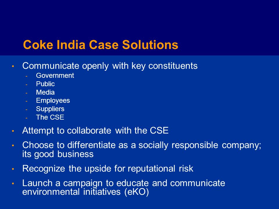 Coke India Case Solutions