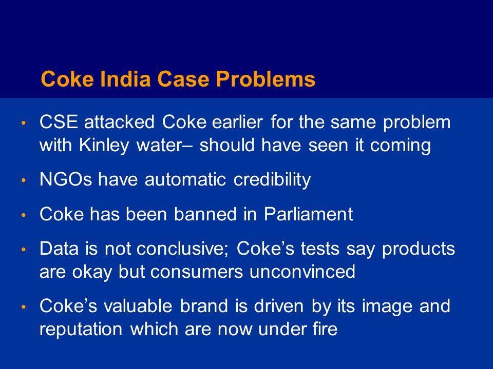Coke India Case Problems