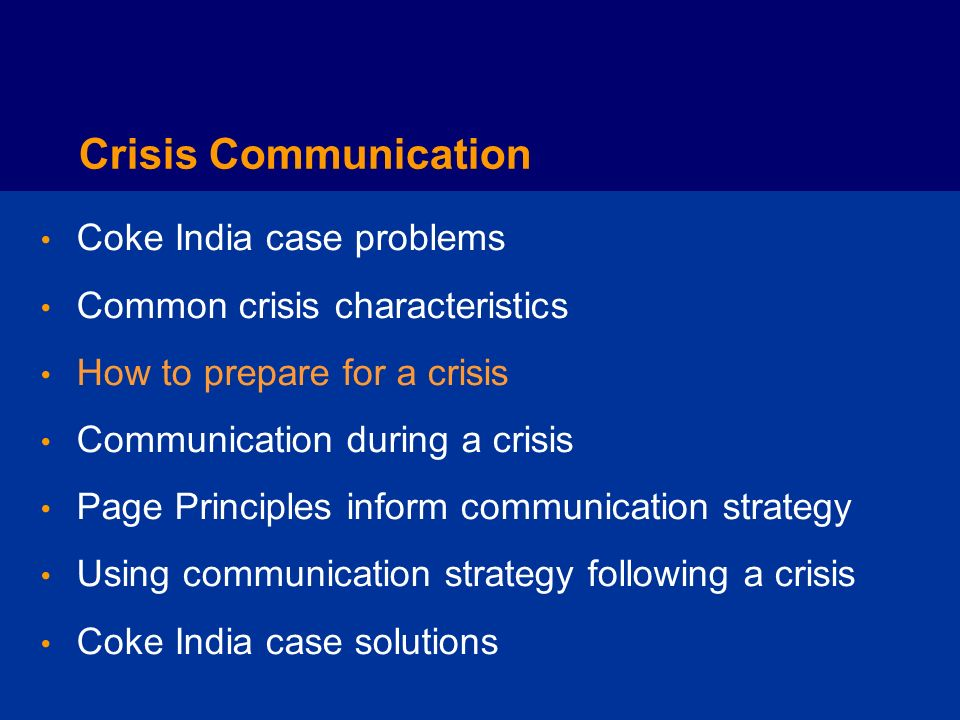 Crisis Communication Coke India case problems