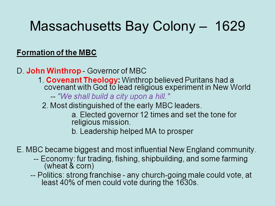 Massachusetts Bay Colony – 1629