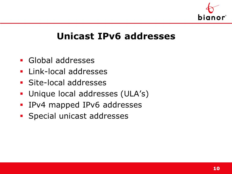 Unicast IPv6 addresses Global addresses Link-local addresses