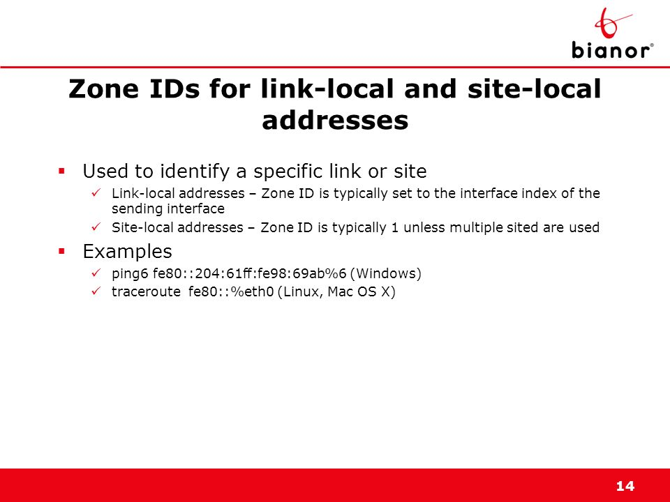 Zone IDs for link-local and site-local addresses