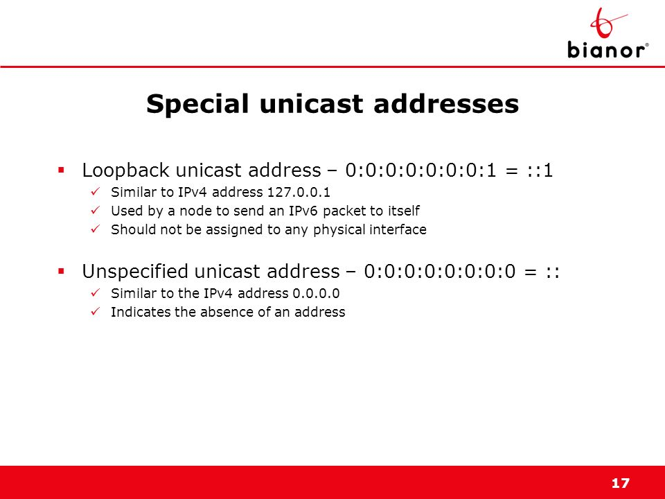 Special unicast addresses