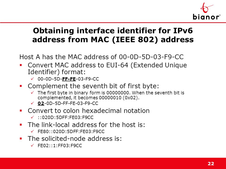 Obtaining interface identifier for IPv6 address from MAC (IEEE 802) address